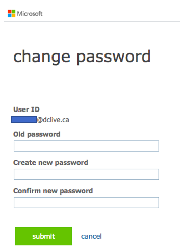 Account settings change your password
